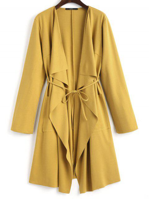 fashion Front Pockets Draped Coat - GINGER S Mobile