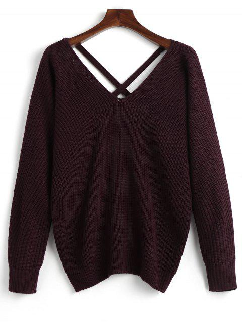 shop V Neck Criss Cross Pullover Sweater - DARK RED ONE SIZE Mobile