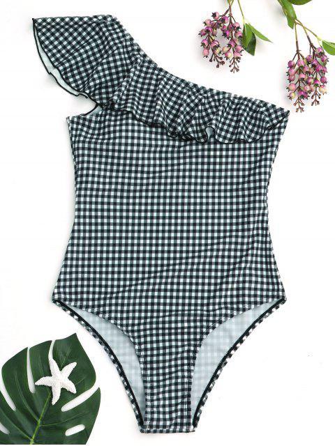 A cuadros un hombro volantes Swimwear - Blanco y Verde XL Mobile