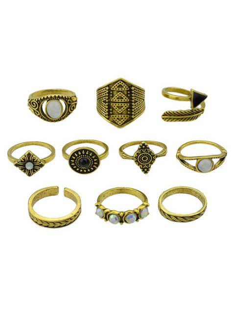 outfits Retro Metal Band Cuff Rings Set - GOLDEN ONE-SIZE Mobile