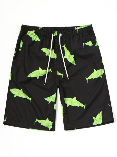 buy Shark Print Beach Board Shorts - BLACK XL Mobile
