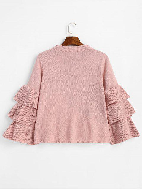 fashion Flouncy Layered Sleeve Pullover Sweater - PINK ONE SIZE Mobile