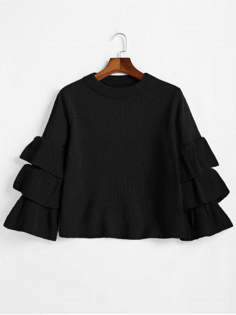 Rüschen GeschichteterÄrmel Pullover - Schwarz Eine Größe Mobile