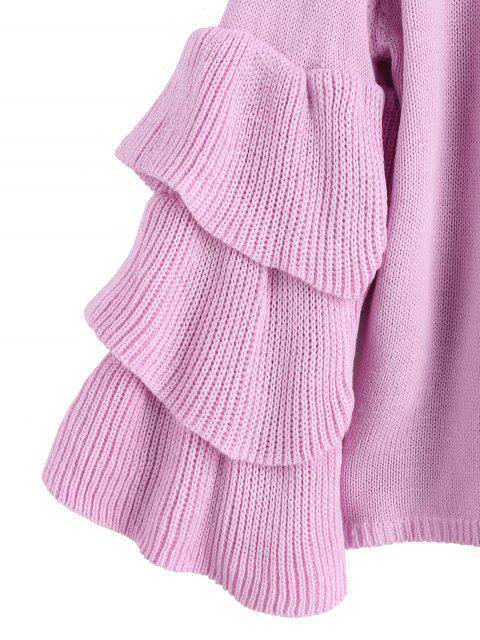Suéter Pulover com Mangas em Camadas com Folhos - Luz roxa Um Tamanho Mobile