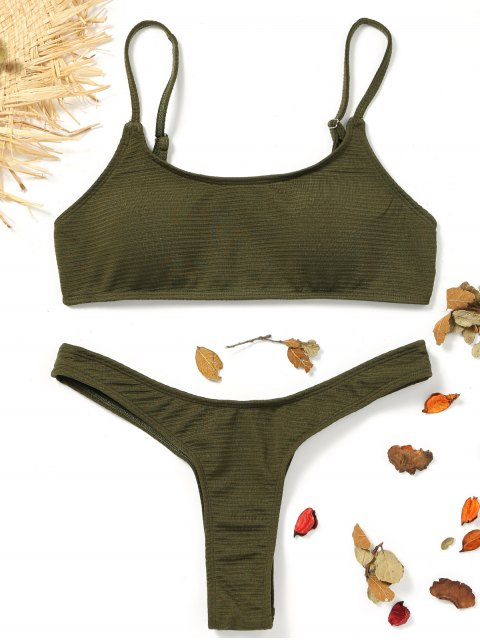 fancy High Cut Thong Bikini - ARMY GREEN M Mobile