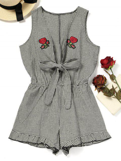 outfit Rose Applique Checked Beach Romper - CHECKED S Mobile