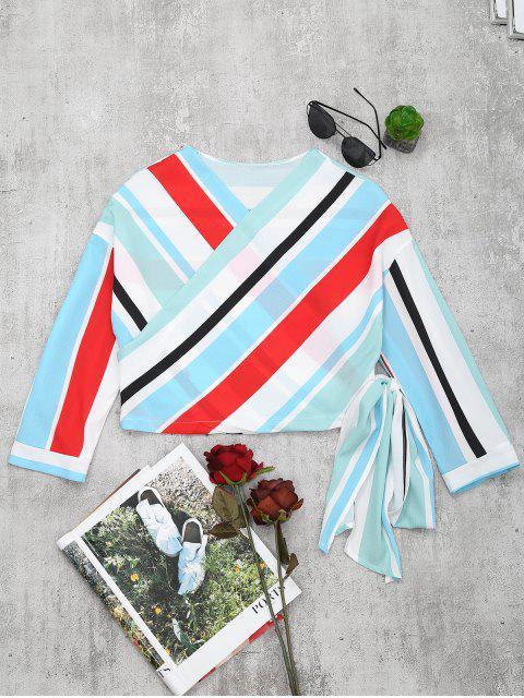 womens V Neck Striped Crop Wrap Blouse - LIGHT BLUE S Mobile