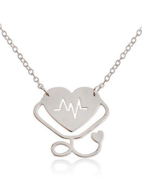 Collar Colgante con diseño de ritmo cardiaco y diseño de San Valentín - Plata  Mobile