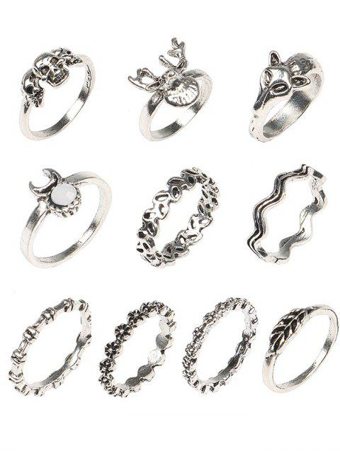 buy Punk Skull Metal Rings Set - COLORMIX ONE-SIZE Mobile