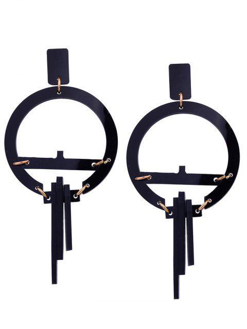Harz Geometrische Runde Ohrringe - Schwarz  Mobile