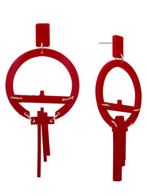 Pendientes redondos geométricos de resina - Rojo  Mobile