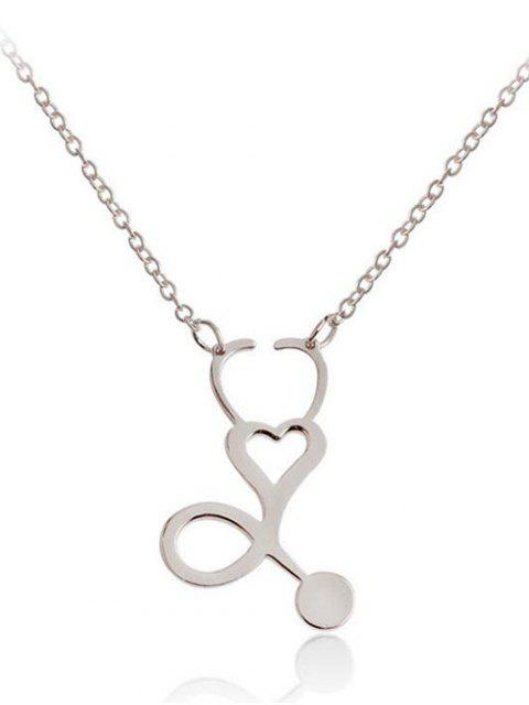 Collar colgante de metal hueco corazón diseño - Plata  Mobile