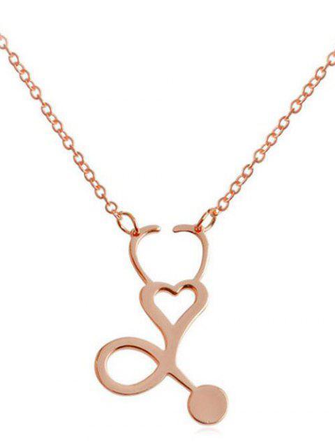 Metall aushöhlen Herz Design Anhänger Halskette - Rosé-Gold  Mobile