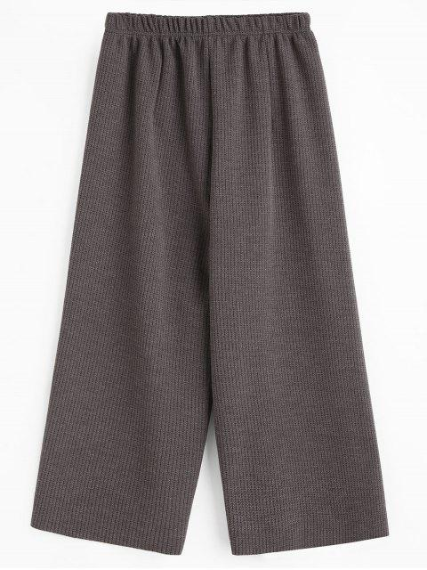 lady Cropped Wide Leg Pants - GRAY ONE SIZE Mobile