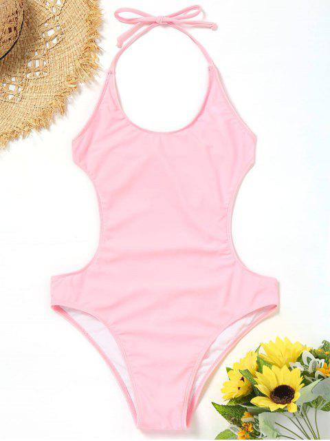 womens Halter Bralette One Piece Monokini - PINK S Mobile