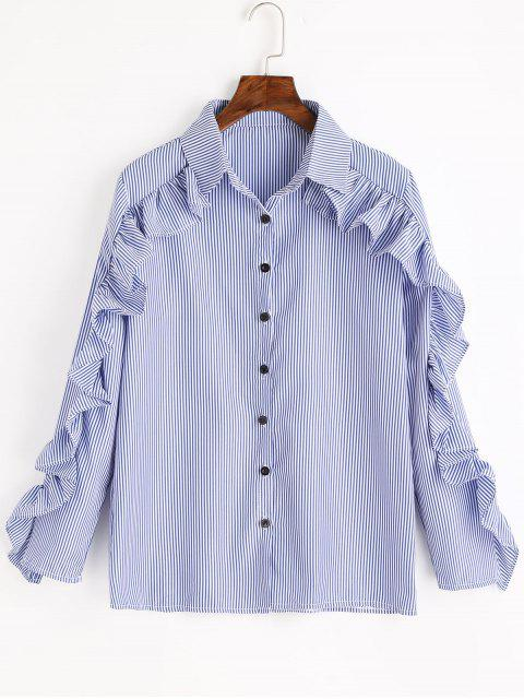 trendy Ruffles Striped Button Up Shirt - BLUE ONE SIZE Mobile