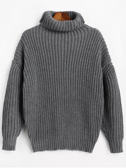 sale Turtleneck Longline Chunky Sweater - GRAY ONE SIZE Mobile