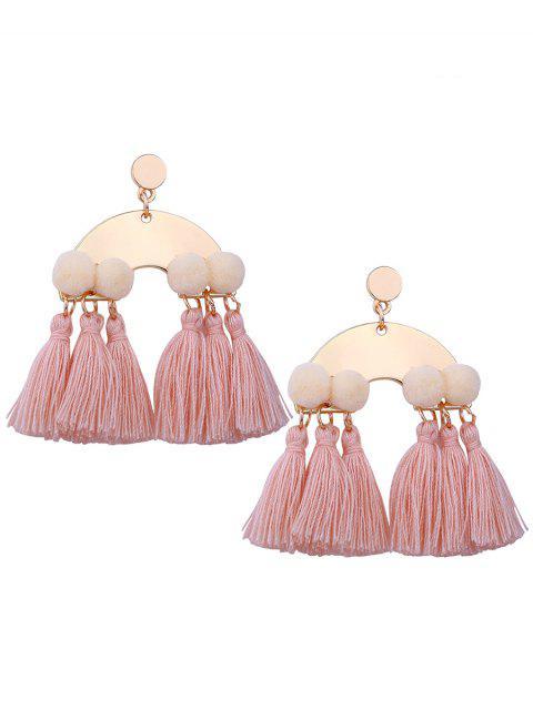 Boucles d'Oreilles Motif Disque en Alliage Boule Pelucheuse et Pompons - Rose Clair  Mobile