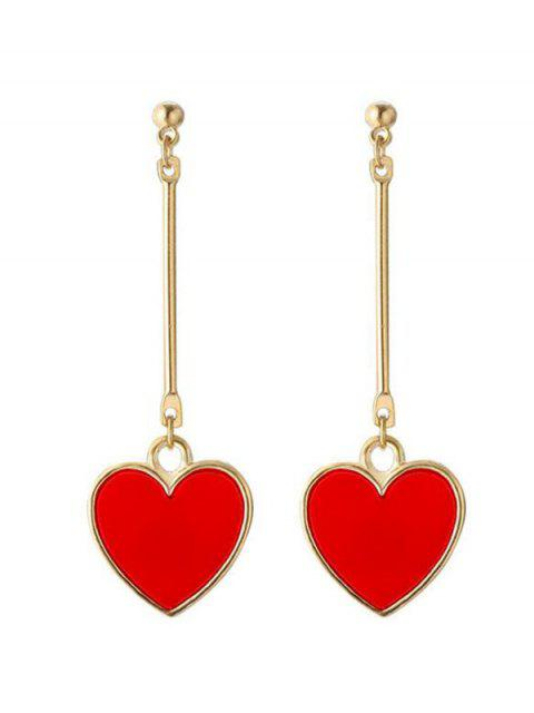 lady Valentine's Day Heart Metal Drop Earrings - RED  Mobile