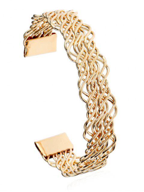 Bracelet Manchette Torsadé en Métal à Sculpture Creuse - Or  Mobile
