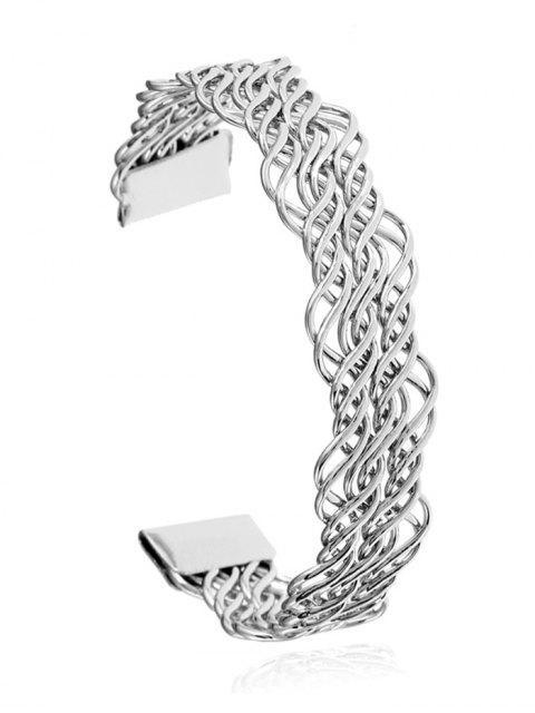 Bracelet manchette en métal torsadé creux - Argent  Mobile