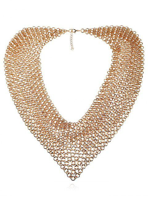 best Statement Alloy Circles Fake Collar Necklace - GOLDEN  Mobile