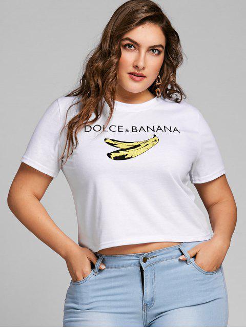 Camiseta estampada con estampado de banana y talla grande - Blanco 2XL Mobile