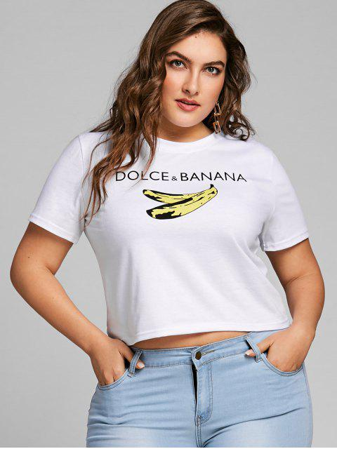 Camiseta estampada con estampado de banana y talla grande - Blanco 3XL Mobile