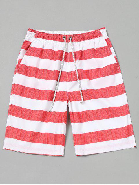 online Striped Board Shorts - RED WITH WHITE M Mobile