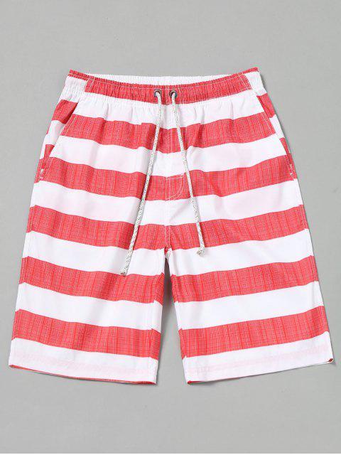 Gestreifte Boardshorts - Rot & Weiß S Mobile