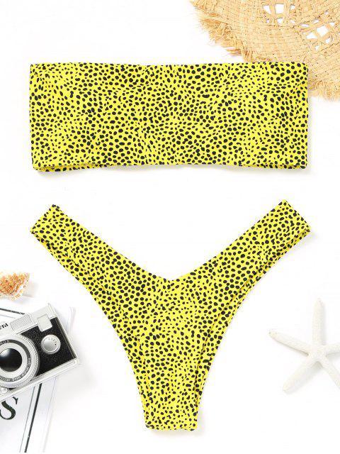 Bikini de tanga con estampado de leopardo Bandeau - Amarillo L Mobile