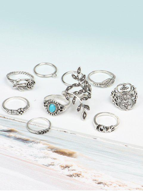 affordable 10 Pcs  Valentine's Day Leaf Flower Series Rings - COLORMIX  Mobile