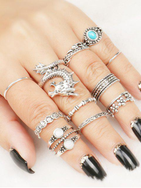 women's Faux Gem Dragon Rings Set - COLORMIX ONE-SIZE Mobile