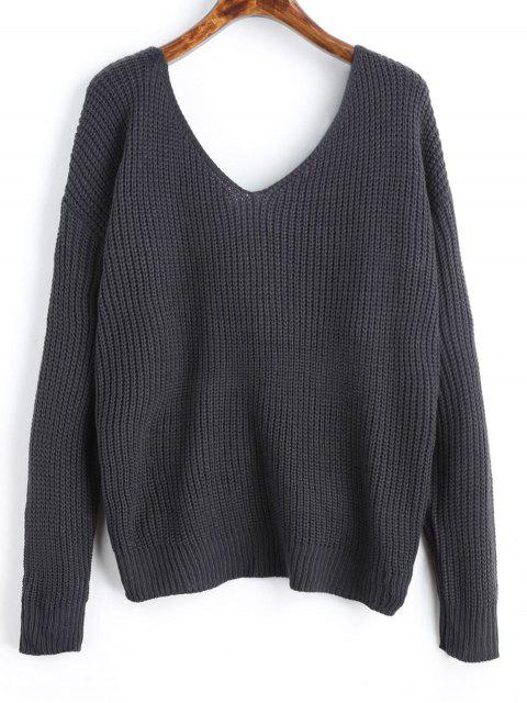 hot V Neck Twist Pearly Sweater - DEEP GRAY ONE SIZE Mobile