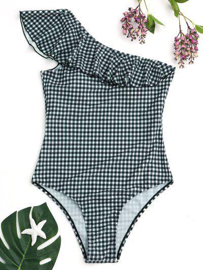 Checked One Shoulder Ruffles Swimwear - White And Green Xl