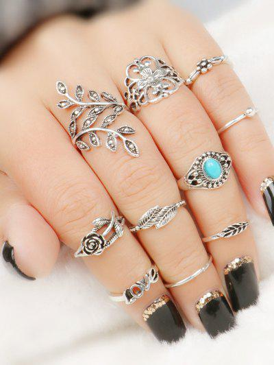 Image of 10 Pcs Valentine's Day Leaf Flower Series Rings