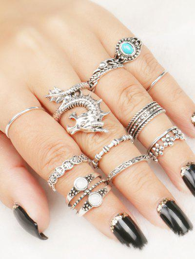 Faux Gem Dragon Rings Set - One-size