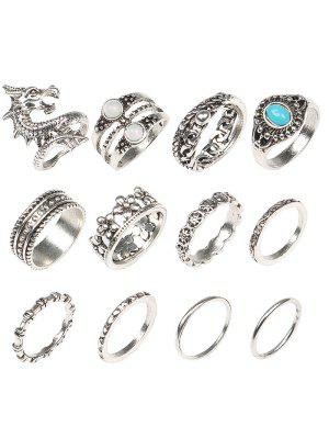 Faux Edelstein Drachen Ringe Set