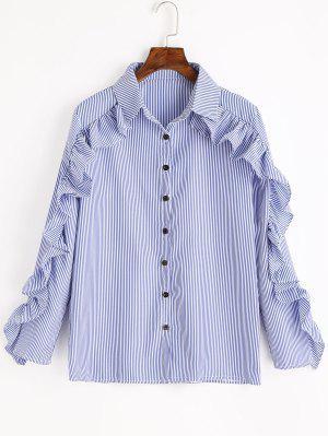 Babados listrado botão camisa - azul
