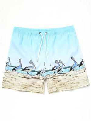 Drawstring Pelican Print Swimming Trunks