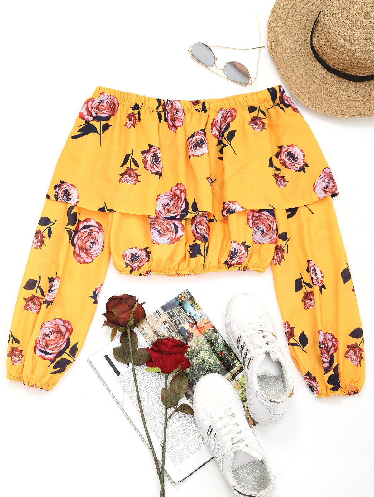 Schulterfrei Volant Floral Crop Bluse
