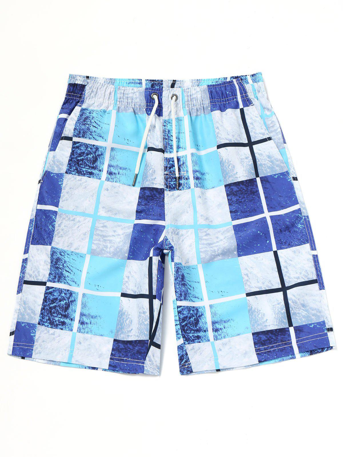 Grid Board Swimming Trunks