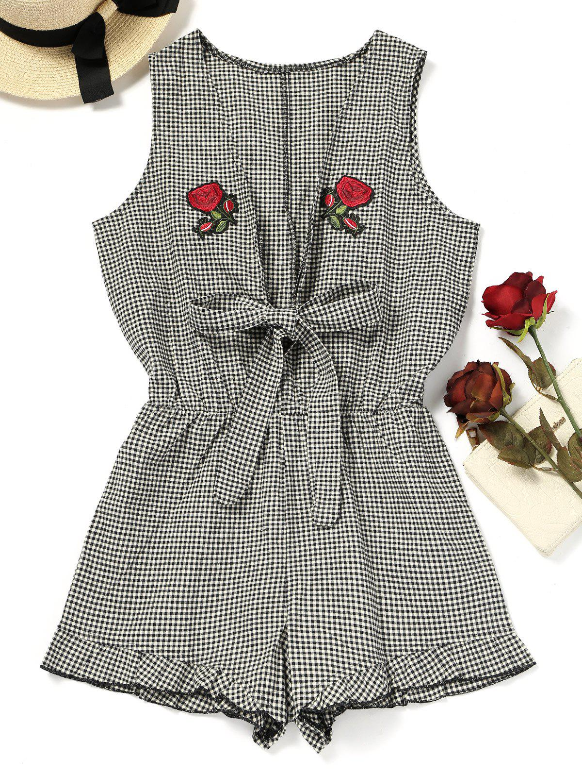 Rose Applique Checked Beach Romper 223107103