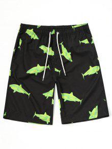 شورت سباحة مزين بطباعة سمك القرش - أسود 2xl