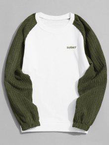 Sweatshirt Mit Rundhalsausschnitt Aus Cord - Weiß Und Grün M