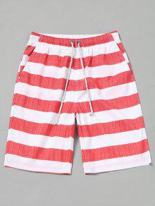 شورت سباحة مخطط - الأحمر مع الأبيض M