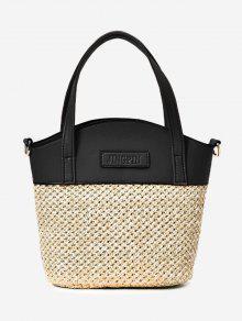 اللون كتلة القش حمل حقيبة - أسود