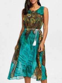 شرابة مربوط الطاووس الريشة طباعة الشيفون اللباس - أخضر M