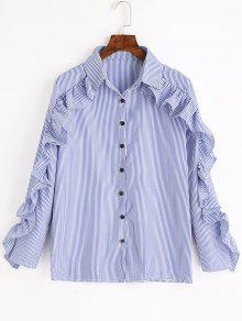 Ruffles Striped Button Up Shirt - Azul
