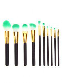 10 قطع المهنية الأسود والذهبي مقبض فرش التجميل مجموعة - أسود